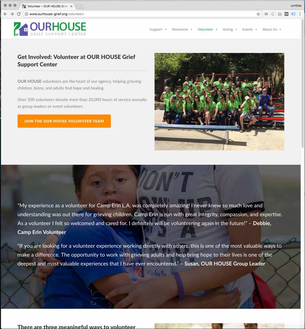 volunteer at Our House