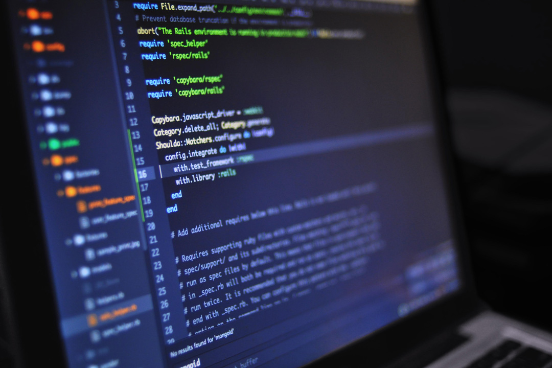 Code on laptop screen