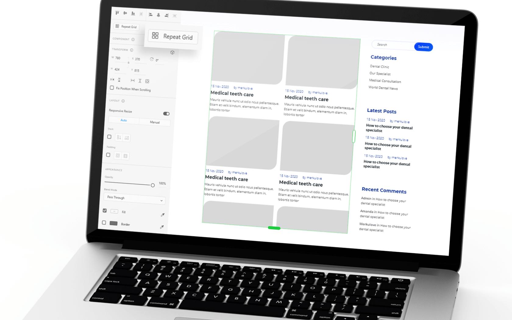 Adobe XD Repeat Grid Feature on Macbook Screen