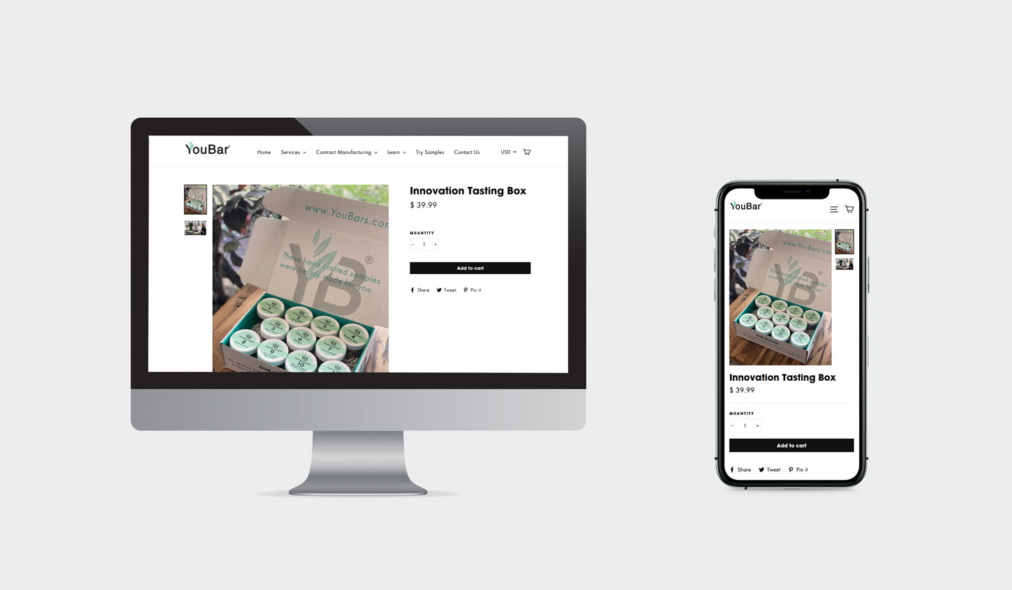 YouBar product page design