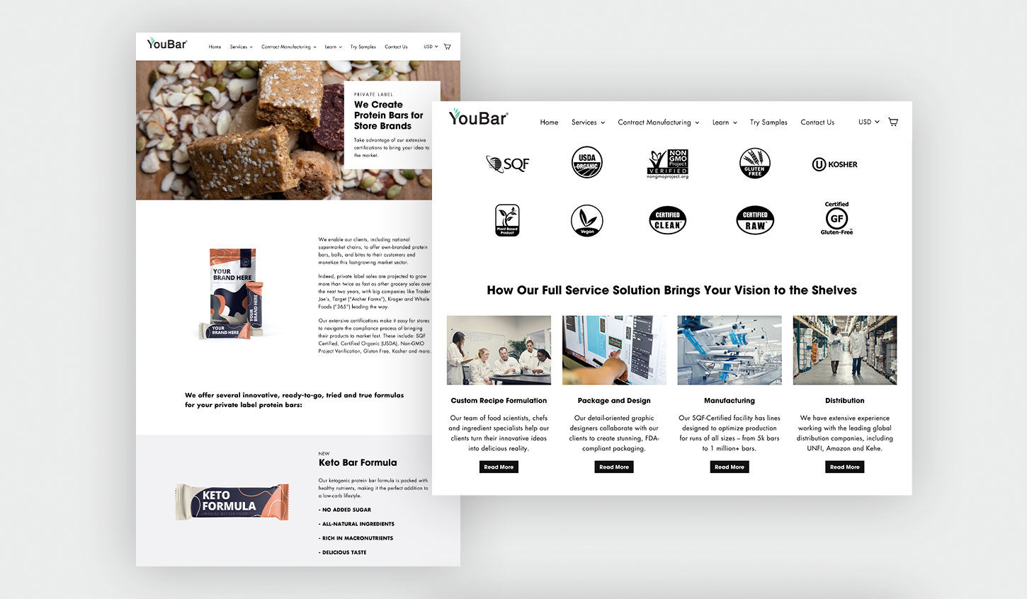 YouBar Inner Pages and Custom Section