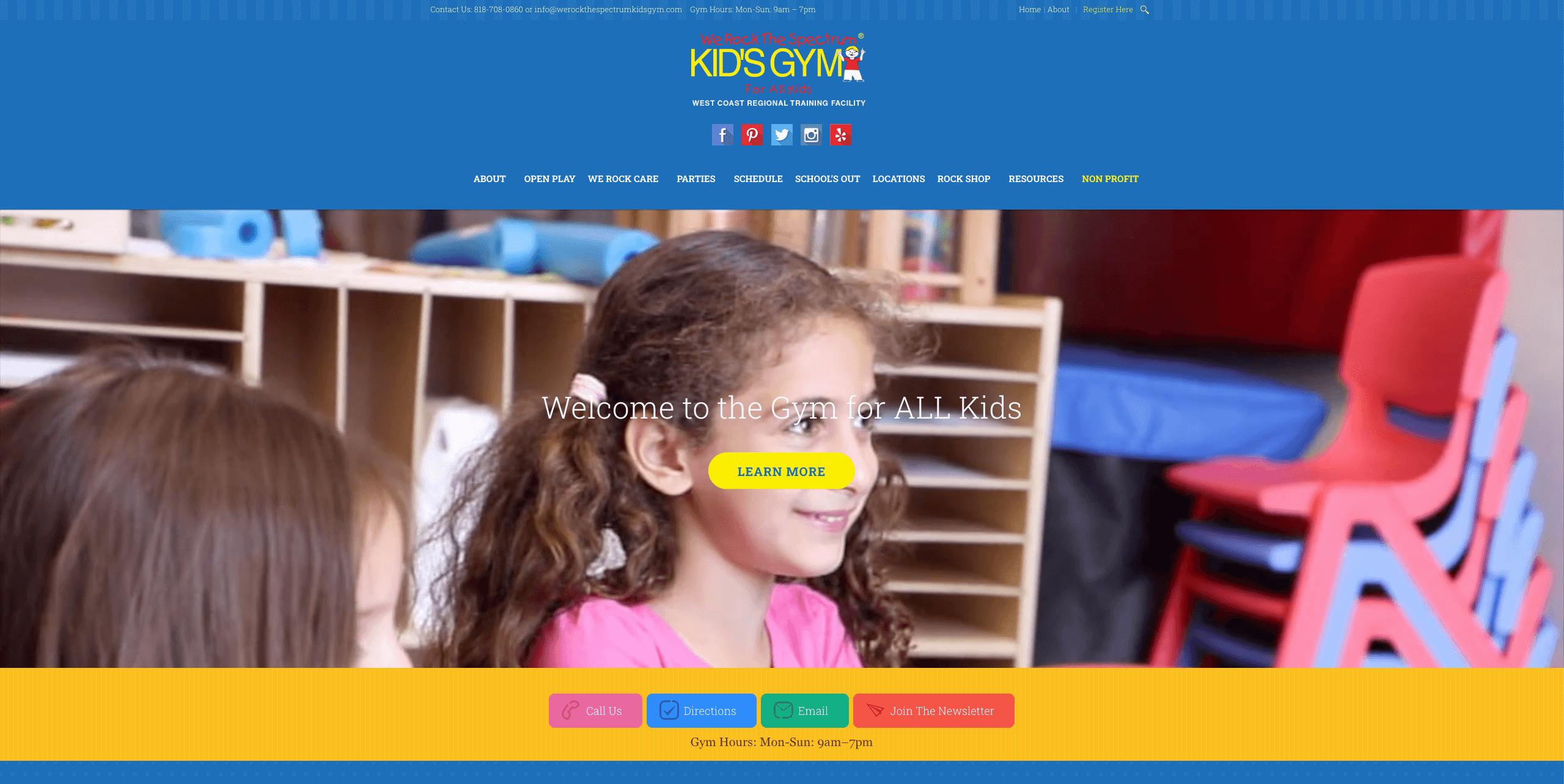 We Rock The Spectrum Tarzana Home Page Design