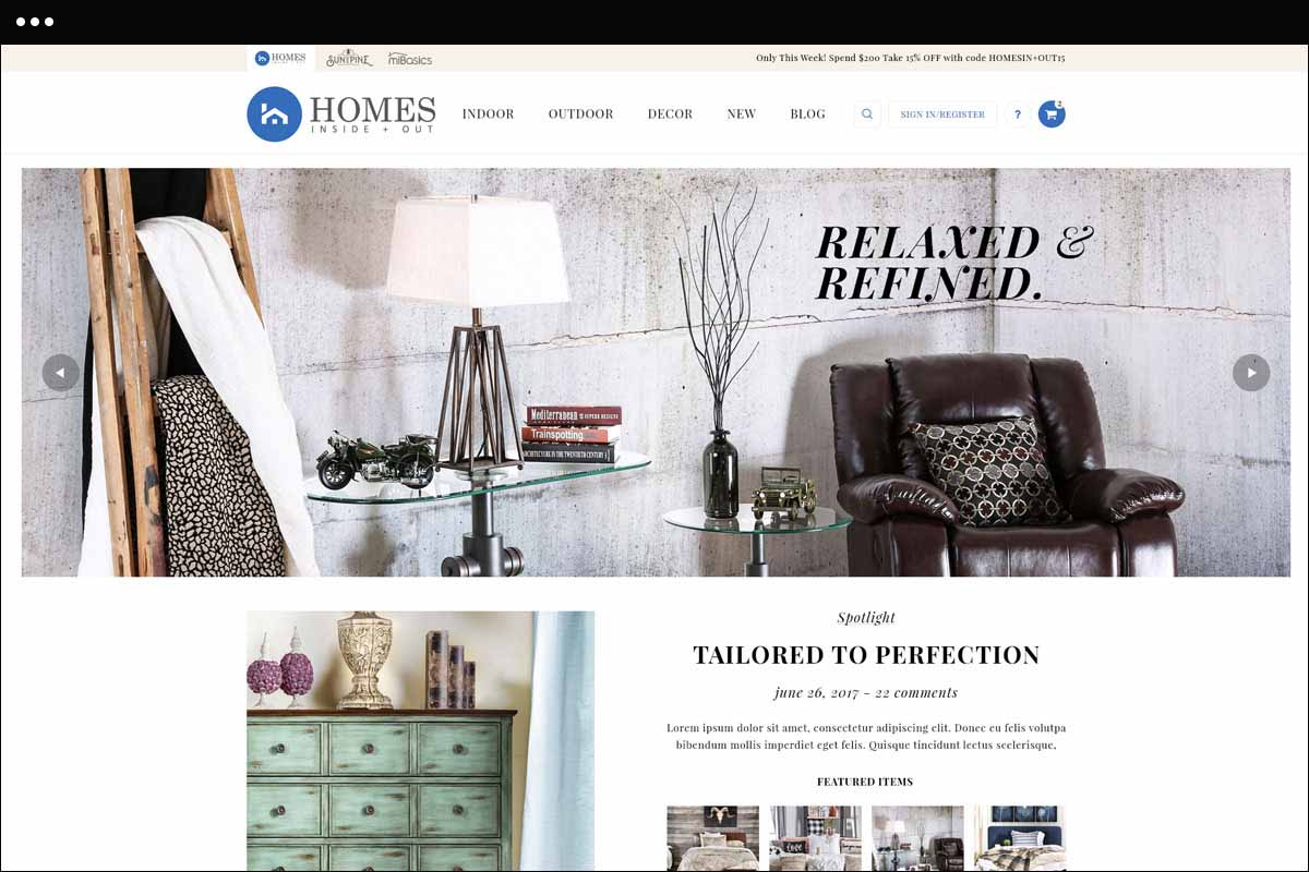 New Home Page for Homes Inside and Out