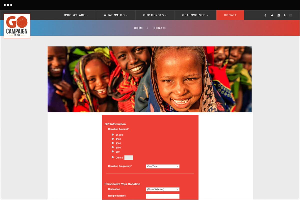 Donate Page Design