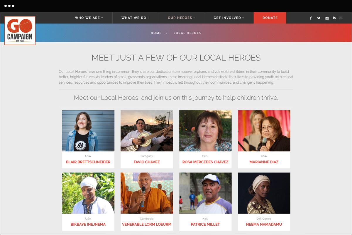 Local Heroes Page Design