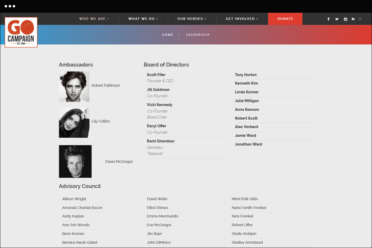 Leadership Page Design