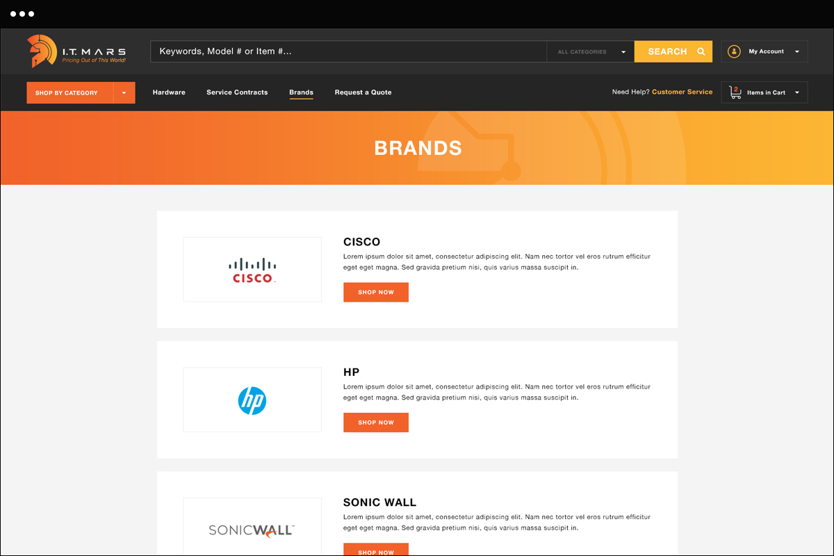 Brands Page Design