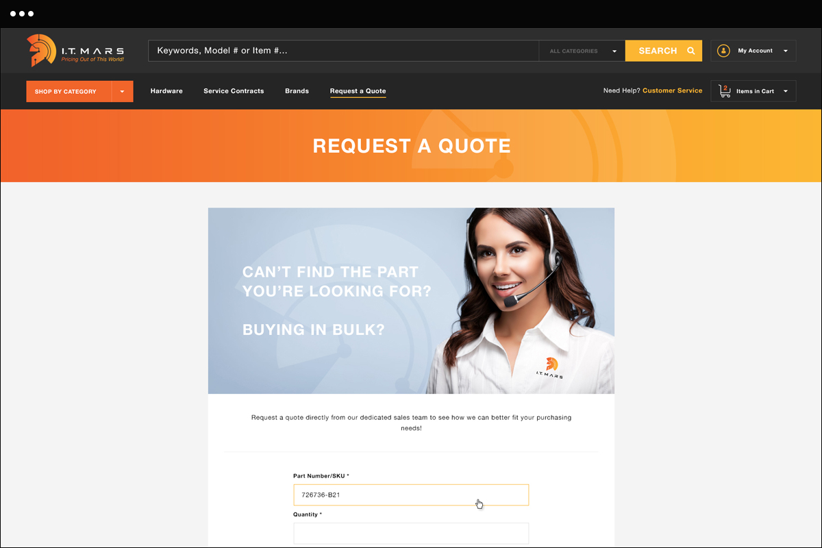 Request a Quote Page Design