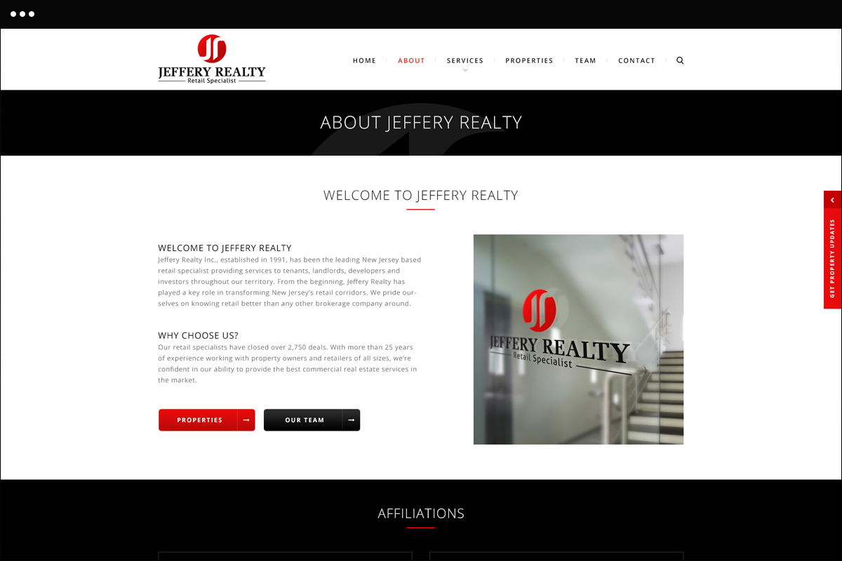 About Jeffery Realty Page Design